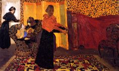 37+Jean+Édouard+Vuillard+(French+artist,+1868-1940)+Interior+with+Red+Bed+(also+known+as+The+Bridal+Chamber)+1893.jpg (900×545)