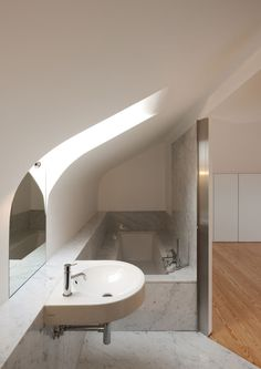 Loft Conversion - great use of space in this attic bathroom