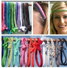 Use old t-shirts, briad them, then tie for a cute easy headband