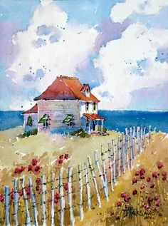 Seaside cottage - joyce hicks watercolor