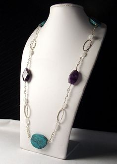 Turquoise Amethyst and Moonstone Necklace in Sterling by TJDbyIris, $232.00