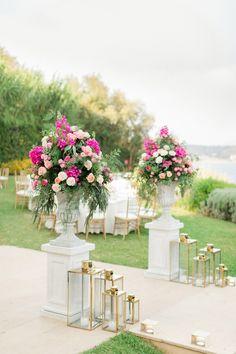 Gold Lanterns, Wedding Lanterns, Wedding Centerpieces, Pastel Pink Weddings, Pink And Gold Wedding, Reception Entrance, Wedding Entrance, Aisle Flowers, Wedding Flowers