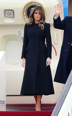 Back in Black from Melania Trump's Best Looks The FLOTUS flew in sophisticated style in a black coat dress while traveling from South Korea to Beijing. Black Dress Coat, Coat Dress, Milania Trump Style, Melina Trump, First Ladies, First Lady Melania Trump, Korean Outfits, Royal Fashion, Korean Fashion