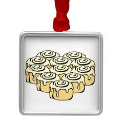 Ornament - I Heart Cinnamon Rolls Square Metal Christmas Ornament. Express your love  or decorate a valentines or sweetest day gift with cute cartoon cinnamon rolls / honey buns in the shape of a heart. Cute design for someone who likes baking, food, or dessert humor or who just loves the sweet buns - baker, pastry chef, or foodie.   #sweetbuns #cinnamonrollgifts #iheartbaking