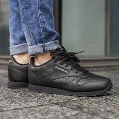 details zu reebok classic leather 50149 schuhe sneaker schwarz damen freizeit sportleder