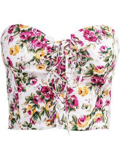 White Strapless Bandage Floral Crop Vest - Sheinside.com