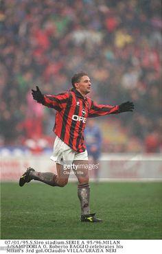 Roberto Baggio of AC Milan celebrates during the Serie A match between AC Milan and UC Sampdoria at Giuseppe Meazza stadium, Milan.