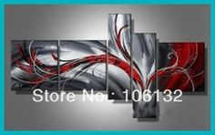Online Shop Framed 5 Panel Large High End Black White and Red Abstract Painting Canvas Picture Wall Art Home Decoration A0173|Aliexpress Mobile