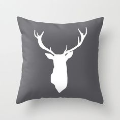 Deer Antlers Pillow Cover - Dark Grey - Modern - Woodland Home Decor - By Aldari Home on Etsy, $35.00