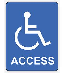 A sign advising people that the area is accessible by people who are in a wheelchair.