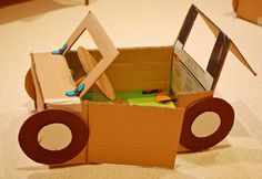Great ideas for cardboard cars, traffic light, car wash, street signs, and gas pump.