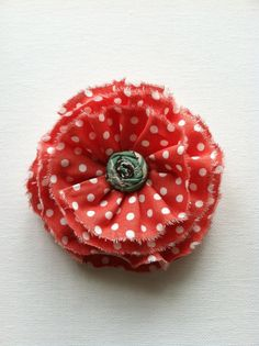 Coral Pin with a Mint Center