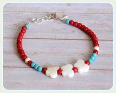 Pulsera gemas turquesa howlita roja y blanca mariposas nacar Plata de Ley plata tibetana chic regalo minimalista gemas fina elegante de Rox88Designs en Etsy