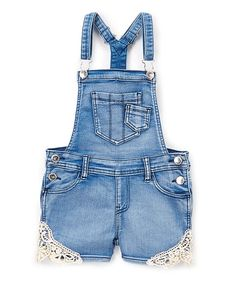 Look what I found on #zulily! Light Sandblast Crochet Denim Overall Shorts - Toddler