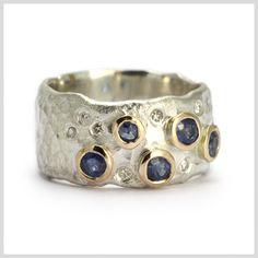 Sapphire and Diamond Handmade Bespoke Statement Ring Silver Gold Platinum Palladium Contemporary Statement Ring Hammered Rubover