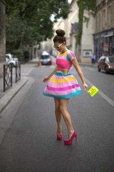 Party Dress & heels - colorful!
