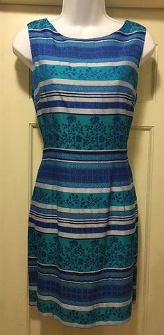 LOVELY John Howard Social Wear Dress Blue, Purple, Turquoise & Floral Stripes 12  | eBay
