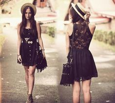 black dress with laced back