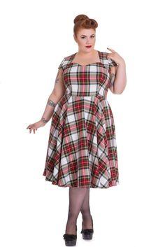 0506950a714d Hell Bunny Vintage Inspired London Love Stewart Tartan Flare Dress