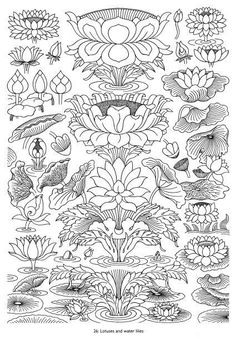 47 ideas flowers lotus drawing water lilies for 2019 Lotus Drawing, Drawing Flowers, Lotus Art, Zentangle, Kerala Mural Painting, Chinese Patterns, Tibetan Art, Desenho Tattoo, Thai Art