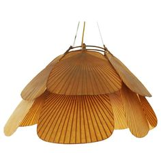 Ingo Maurer Uchiwa Pendant / Chandelier Rice Paper and Bamboo | From a unique collection of antique and modern chandeliers and pendants at https://www.1stdibs.com/furniture/lighting/chandeliers-pendant-lights/