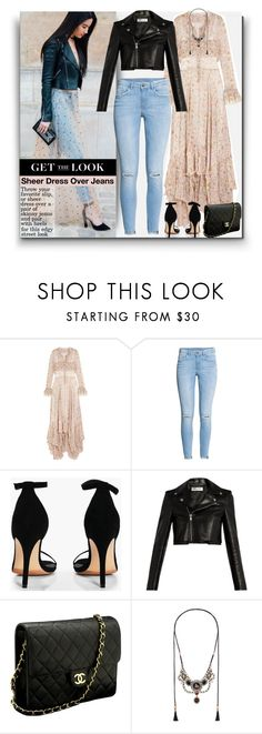 """Trending: Sheer Dress Over Jeans"" by thewovenwolf ❤ liked on Polyvore featuring Philosophy di Lorenzo Serafini, Boohoo, Yves Saint Laurent, Chanel, Gucci, GetTheLook, StreetStyle, trending and edgy"