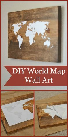 World Map Wall Art Tutorial (using the Silhouette Cameo) Could be used with any picture!DIY World Map Wall Art Tutorial (using the Silhouette Cameo) Could be used with any picture! Diy Wand, Diy Wall Art, Diy Wall Decor, Tumblr Wall Decor, Wall Decorations, Diy Projects To Try, Craft Projects, Project Ideas, Pallet Projects