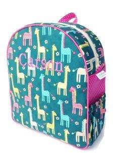 Toddler Backpack, Preschool Backpack, Girls Backpack, Quilted Backpack, Giraffe Backpack, Diaper Bag, Tote Bag, Book Bag by littlepacks on Etsy
