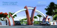 Lotus Park Township Park Green Township Service Provider from Raipur Front Gate Design, House Front Design, Entrance Design, Entrance Gates, Grand Entrance, Front Gates, Main Entrance, Landscape Architecture Drawing, Hotel Architecture