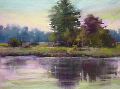 Quiet Evening Lowcountry River reflections 18x24 Original Pastel Painting By Karen Margulis