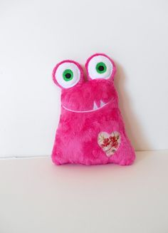 Another popular minky Love monster for the new baby. Only this one is definitely a girl! Sewn from Shannon Fabrics' fuchsia Cuddle Dot Minky. In my Etsy shop now!