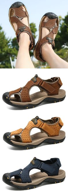Men Hook Loop Outdoor Slip Resistant Leather Sandals Source by newchicstylist Shoes summer Discount Mens Shoes, Cheap Mens Shoes, Mens Shoes Sale, Mens Shoes Online, Knit Shoes, Men's Shoes, Shoe Boots, Shoes Men, Leather Sandals