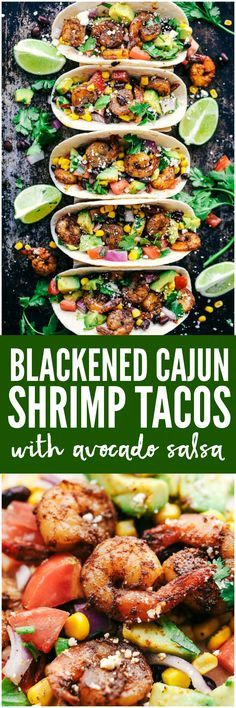 Blackened Cajun Shrimp Tacos with Avocado Salsa are made with so many fresh ingredients and the blackened cajun shrimp takes it to the next level with flavor! These are some healthy and delicious tacos you have got to try!