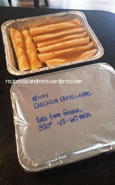 DIY Freezer Meals - Cheesy Chicken Enchiladas - make 2 and freeze the extra. Perfect for new moms, or new neighbors, or someone having surgery.
