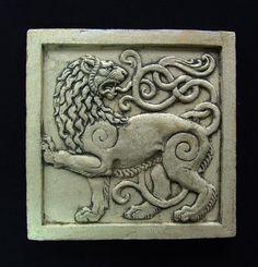 lion ceramic tile by Roman Khalilov Stone Carving, Wood Carving, Steinmetz, Metal Embossing, Art Decor, Decoration, Medieval Art, Decorative Tile, Mural Art