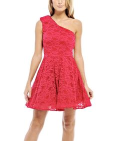 Love this Red Lace Asymmetrical Fit & Flare Dress - Women on #zulily! #zulilyfinds
