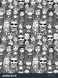 People - men and women, boys and girls seamless crowd pattern ---------- pattern, people, seamless, crowd, background, doodle, vector, sketch, group, illustration, girl, wallpaper, social, design, boy, community, human, men, network, faces, together, black, man, women, symbol, person, woman, face, white, children, meeting, toilet, unity, sign, many, female, character, male, cartoon, fashion, holiday, drawn, hand, young, friends, drawing, family, happy, head, graphic, sad