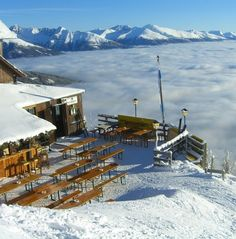 Mountain huts, bars and restaurants on Speiereck Großeck - st martin chalets Austria Restaurant Bar, Snowboarding, Austria, Saints, Clouds, Spaces, Mountains, Travel, Snow