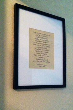 framed wedding vows easy gift idea
