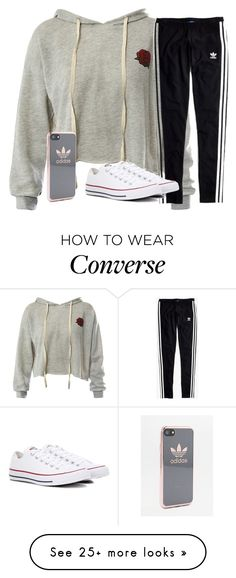 """Untitled #2617"" by laurenatria11 on Polyvore featuring Sans Souci, Madewell, Converse and adidas"