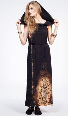 Платье в пол с узором мехенди, ручная работа, elven forest, long dress, india style. 8140 рублей