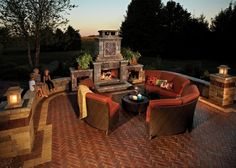Copthorne patio with fireplace and Brussels Dimensional seat walls