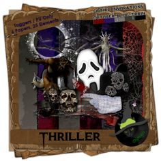 Thriller Sampler - Horror themed mini-digital taggers kit composed of 6 (800 x 800 pixel), .jpg papers and 25 .png elements including 1 werewolf poser. 300 DPI.  Personal use only