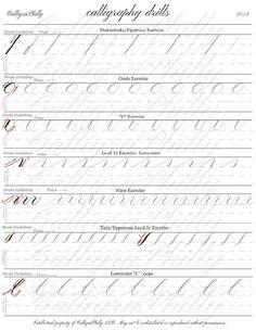 Beginner Level 1 Practice Drills for Copperplate Calligraphy: Calligraphy Practice Sheets Free, Calligraphy Worksheet, Calligraphy Tutorial, Copperplate Calligraphy, Calligraphy Envelope, Calligraphy Alphabet, Envelope Addressing, Font Alphabet, Graffiti Alphabet