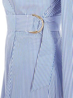 Pleat skirt dress with 3/4 sleeve and wrap top
