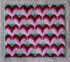 Long Stitch Hearts Needlepoint Pattern - About.com