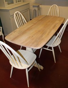 Vintage Ercol Table and Four Windsor Chairs Ercol Chair, Ercol Furniture, Vintage Furniture, Painted Furniture, Furniture Ideas, Ercol Dining Table, Table And Chairs, Dining Rooms, Wood Folding Chair