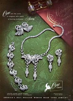 CORO CRAFT Costume Jewelry Ad - 1940s - Aurora - Paper Advertisement
