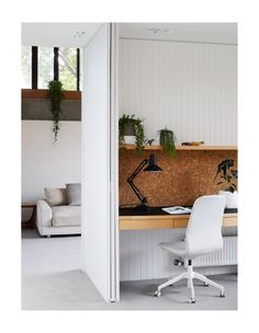 A look into the study that wraps around to the living room. Styling – Annie Portelli/The Design Files. Home Office Design, Home Office Decor, Home Interior Design, Home Decor, Office Ideas, Hall Interior, Office Designs, Office Nook, Office Rug