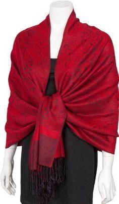 "70"" x 28"" Paisley Self-Design Shawl / Wrap / Stole / Scarf - Red Black"